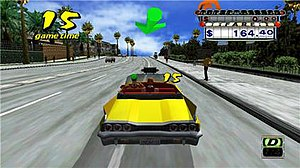 Crazy Taxi - In Crazy Taxi players are tasked with earning fares by taking customers to destinations as quickly as possible.