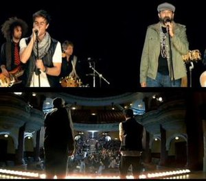 Cuando Me Enamoro - Iglesias and Guerra in the music video.
