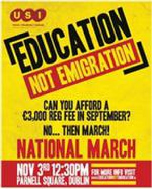 Anti-austerity movement in Ireland - Education not Emigration: a poster for the national student march on 3 November 2010