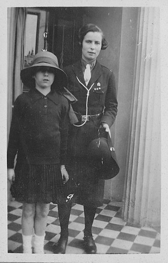 Family of David Cameron - Enid Levita (right), paternal grandmother of David Cameron, wearing the uniform of Sussex County Guides, c. 1930