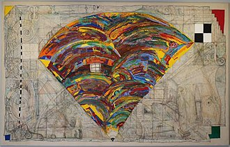 William T. Wiley - Fan for the A.M. by William T. Wiley, 1984, acrylic paint and colored pencil on canvas, Honolulu Museum of Art