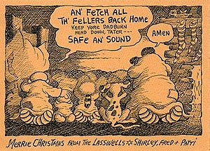 Fred Lasswell - Fred Lasswell employed a different art style when he drew this Christmas card featuring characters from his comic strip.
