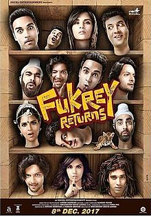 "Film poster showing 14 heads of people on the shelf, with the movie title called ""Fukrey Returns"" shown in the middle of the image."
