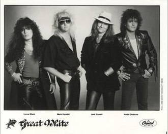 Great White - Great White as a quartet in 1986. From left: Lorne Black, Mark Kendall, Jack Russell, Audie Desbrow.