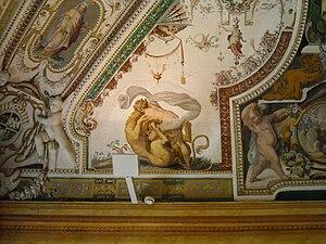 Girolamo Muziano - Image: Hercules with Nemean Lion Labor 1 Girolamo Muziano 1565 Sala di Ercole Villa d'Este, Tivoli