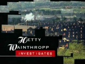 """Hetty Wainthropp Investigates - Series titles. The background is formed from multiple """"photographs""""."""