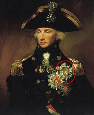 Order of the Crescent - Nelson, by Lemuel Francis Abbott - his Order of the Crescent, circled, is here painted the right way up.