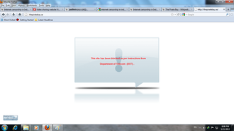 Internet censorship in India - Screenshot of a blocked site