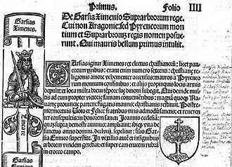 Kingdom of Sobrarbe - From the first page of the history of Sobrarbe in De Aragoniae Regibus, showing the first two kings and the cross in the tree which became Sobrarbe's heraldic emblem.