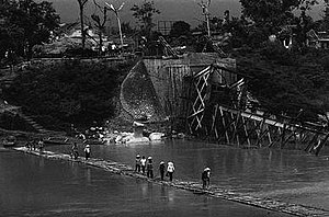 Battle of Lạng Sơn (1979) - The bridge over the Kỳ Cùng River destroyed after the Chinese occupation of Lạng Sơn
