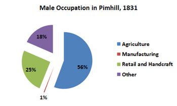 A pie chart to show the male occupation in Albrighton in 1831