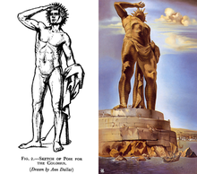 A black and white drawing of the Colossus of Rhodes from Herbert Maryon's 1954 paper, next to a Salvador Dalí's 1954 rendering of the Colossus