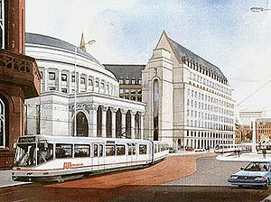 St Peter's Square tram stop - An artist's impression of light rail in St Peter's Square (1987)