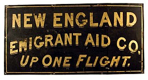 New England Emigrant Aid Company - The company sign.