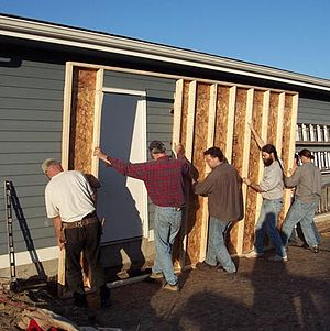 Sunward Cohousing - Members work together to raise a shed, 2001