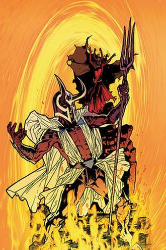Blaze and Satanus - Blaze and Satanus on the cover of DC Universe Special: Reign in Hell. Art by Ryan Sook.