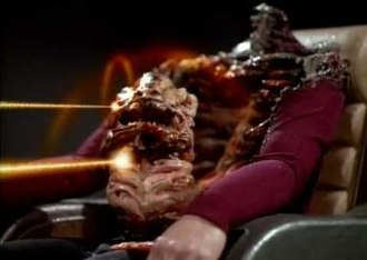 Conspiracy (Star Trek: The Next Generation) - Dexter Remmick's host body and queen parasite are destroyed by Picard and Riker. Such scenes made the broadcast of the episode controversial.