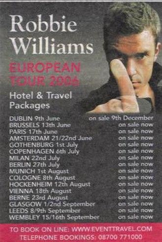 Close Encounters Tour - Image: Robbie W 2006Tour Poster