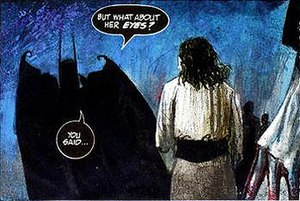 Gaspar Saladino - A panel from Arkham Asylum (story by Grant Morrison, art by Dave McKean), showing Saladino's distinctive lettering treatment.