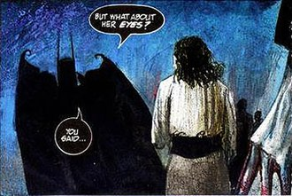 Arkham Asylum: A Serious House on Serious Earth - A panel from Arkham Asylum, showing Dave McKean's artwork and letterer Gaspar Saladino's distinctive lettering treatment.