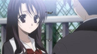 School Days (visual novel) - Example of a selection screen from the North American release of School Days HQ. Here, Kotonoha has asked Makoto a question. Players may choose one of the available options or none at all.