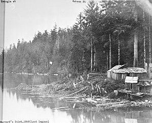 History of Squamish and Tsleil-Waututh longshoremen, 1863–1963 - Squamish dwellings at Coal Harbour, Vancouver, 1868.