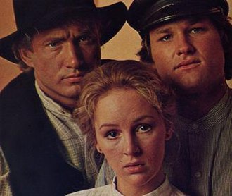 The New Land (TV series) - Counterclockwise from top left: Scott Thomas as Christian Larsen, Bonnie Bedelia as Anna Larsen, and Kurt Russell as Bo Larsen in a promotional photo for The New Land.