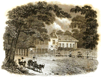 Upper Flask - The building in an engraving by Charles John Smith for his Graphic Illustrations of the Life and Times of Samuel Johnson, LL.D. in 1837, when it was known as the residence of Johnson's collaborator, the late George Steevens.