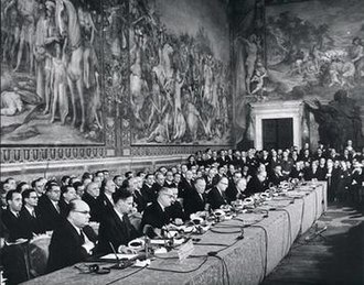 Treaty of Rome - The signing ceremony of the Treaty at the Palazzo dei Conservatori on the Capitoline Hill