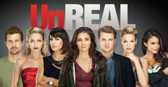 Unreal (TV series) - Season 1 cast photo (from l. to r.: Kelly, Braddy, Zimmer, Appleby, Stroma, Scott, Kelley)
