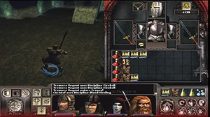Vampire: The Masquerade – Redemption - From the third-person perspective, the player character Christof Romuald wields a melee weapon. The interface shows the inventory on the right, and the current party members at the bottom.