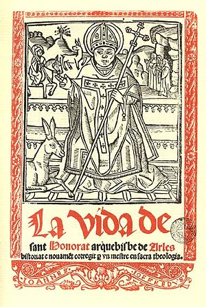 Honoratus - Coverpage woodcut from La vida de sant Honorat arquebisbe de Arles