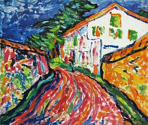 Erich Heckel - Weisses Haus in Dangast, oil painting by Erich Heckel, 1908.