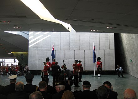 The High Commissioners of Australia and New Zealand lay wreaths at an Anzac Day ceremony at the Canadian War Museum in Ottawa. ANZAC day 2009 CWM.jpg