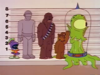 """The FBI line-up, described by Mike Reiss as the """"most illegal shot"""" in the history of The Simpsons."""