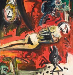 "John Bellany - ""Time and the Raven"", oil on canvas"