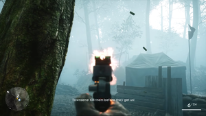 The screenshot captures the single-player aspect of Battlefield 1 built on Frostbite 3, where the player is engaged in combat with an opposing AI in a foggy environment.