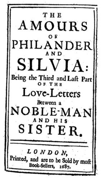 Love-Letters Between a Nobleman and His Sister - Titlepage of The Amours of Philander and Silvia (1687)