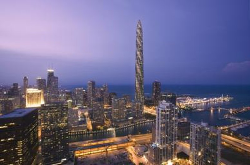Chicago Spire in Chicago skyline