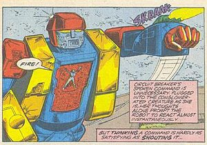 Perceptor - Circuit Breaker leads a giant Autobot she created from parts of other Autobots against the Decepticon Battlechargers in Marvel's Transformers comics.