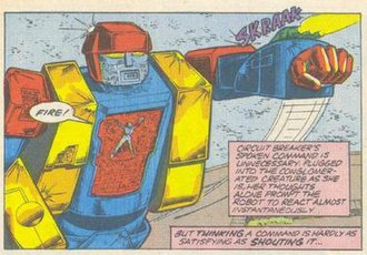 Blaster (Transformers) - Circuit Breaker leads a giant Autobot she created from parts of other Autobots against the Decepticon Battlechargers in Marvel's Transformers comics.