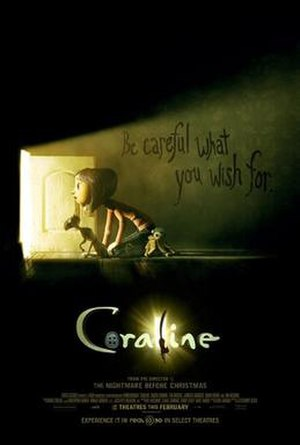 Coraline (film) - Theatrical release poster/PlayStation 2 cover art for the North American release of the game