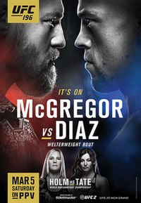 A poster or logo for UFC 196: McGregor vs. Diaz.