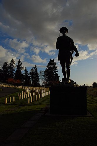 Evergreen Washelli Memorial Park - The Doughboy Statue at the Veterans Memorial Cemetery