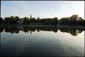 Druskininkai - Druskonis lake, City museum and a tower of the church.