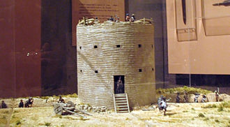 Battle of St. Louis - Diorama in the Missouri State Capitol showing Fort San Carlos and the attack