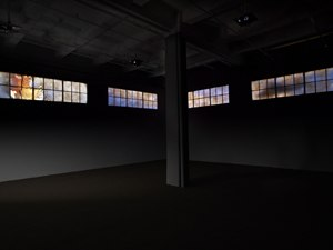 Krzysztof Wodiczko - …OUT OF HERE: The Veterans Project, 2009–2011. Seven-channel color video with sound. Installation view, Galerie Lelong, New York, 2011.