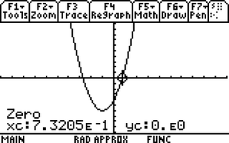Quadratic equation - Image: Graphical calculation of root of quadratic equation