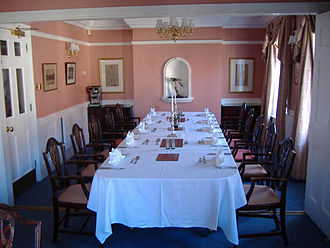 Hawks' Club - The dining room laid for lunch.