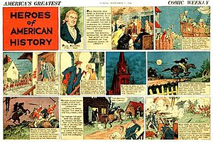 """Non-fiction comics - Paul Revere was profiled in this King Features comic strip (September 27, 1936). """"Heroes of American History"""" by Nicholas Afonsky."""